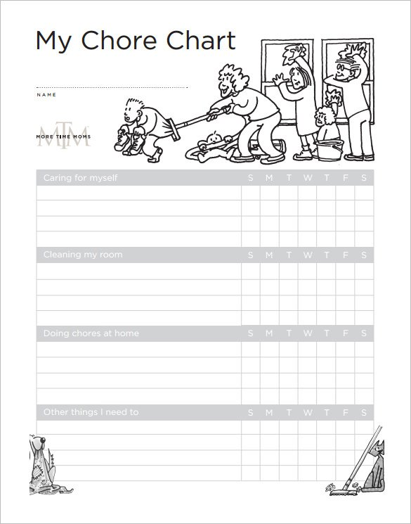 Weekly Chore Chart for Kids Free Downlaod
