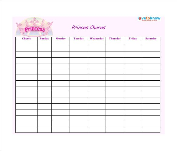 Weekly Chore Chart for Prince Free Template