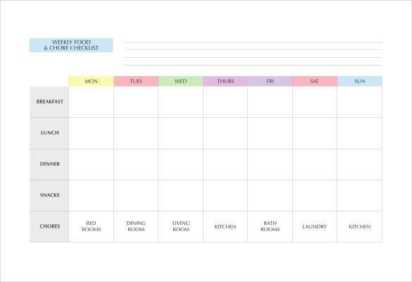 Weekly Food Chore Chart