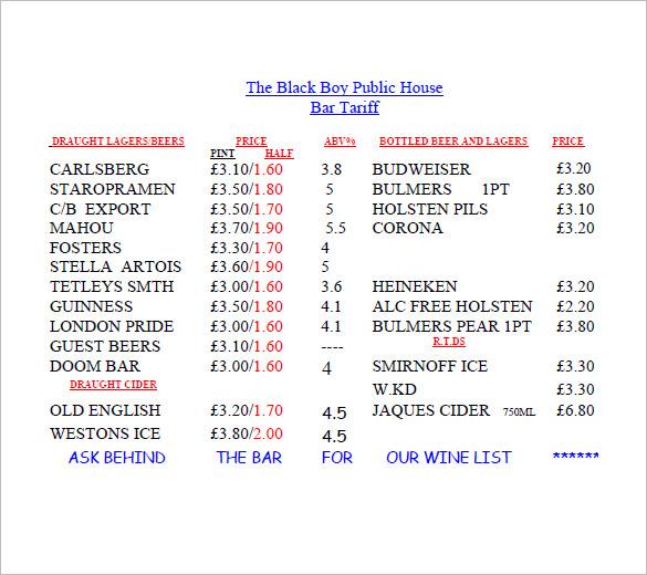 bar price list template
