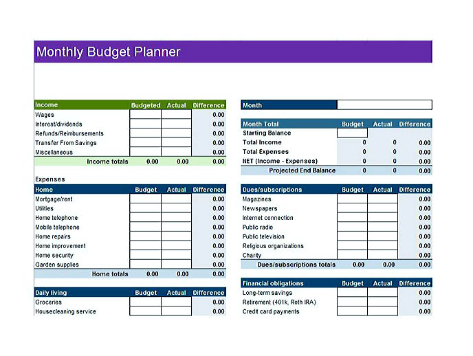budget template accounting