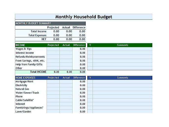 budget template for students
