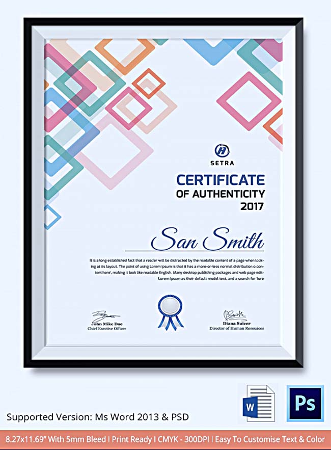 Certificate of authenticity template what information to include certificate of authenticity template sample yadclub Images