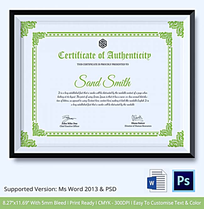 Certificate of authenticity template what information to for Certificate of authenticity autograph template