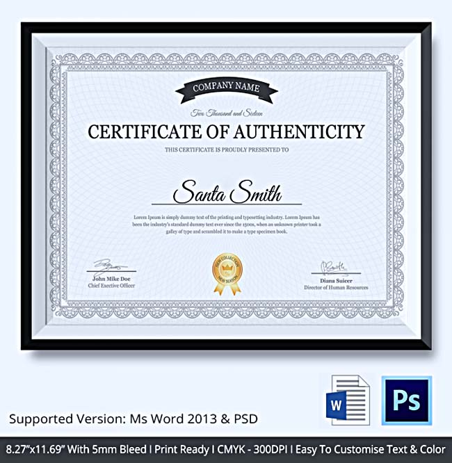Certificate of authenticity template what information to for Artist certificate of authenticity template