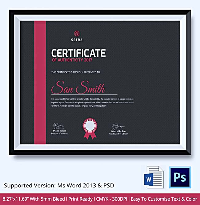 Certificate of authenticity template what information to include certificate of authenticity template sample yadclub Gallery