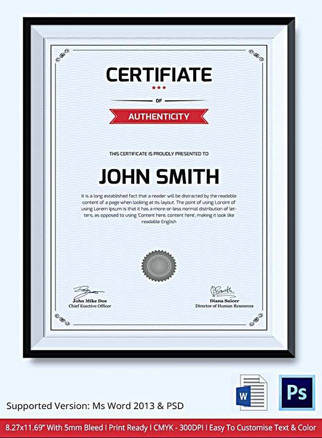 Certificate of Authenticity Template: What Information to ...