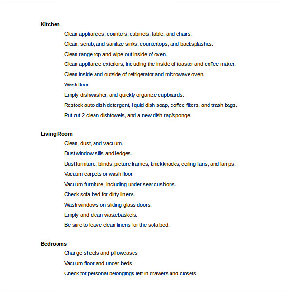 Cleaning Checklist Template Word File Download