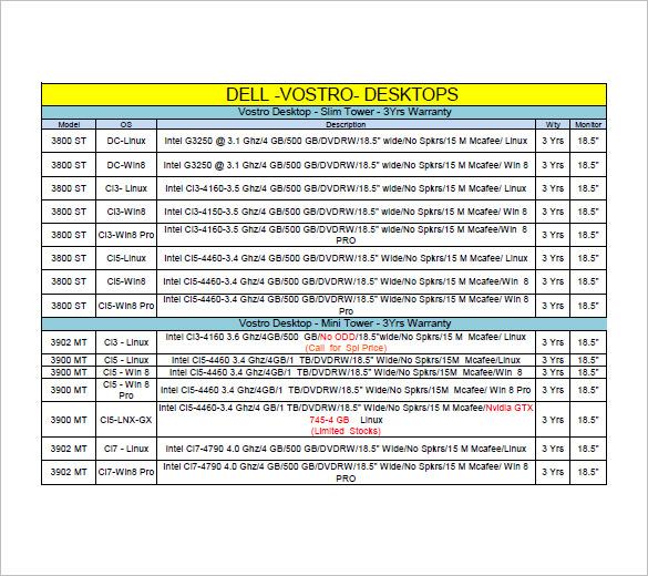 desktop computer price list