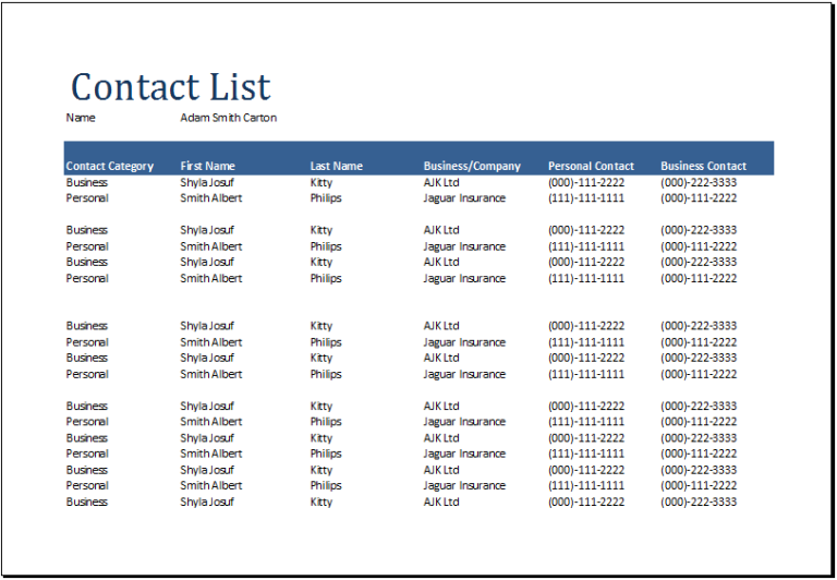 Contact List Template Several Options Of Categorization
