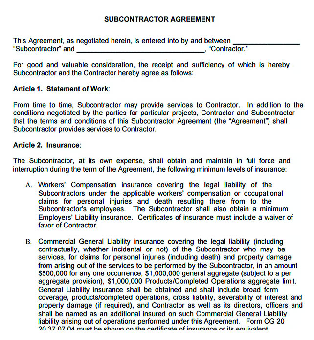 11 subcontractor agreement template for successful contractor company free subcontractor agreement platinumwayz
