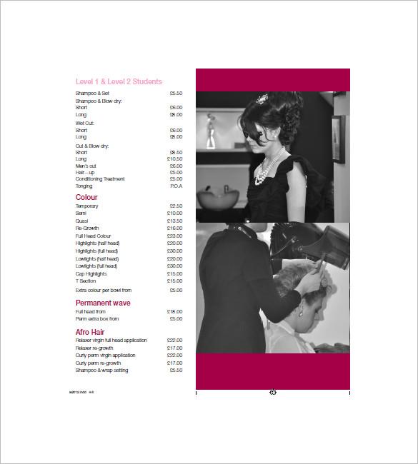 hair salon price list template