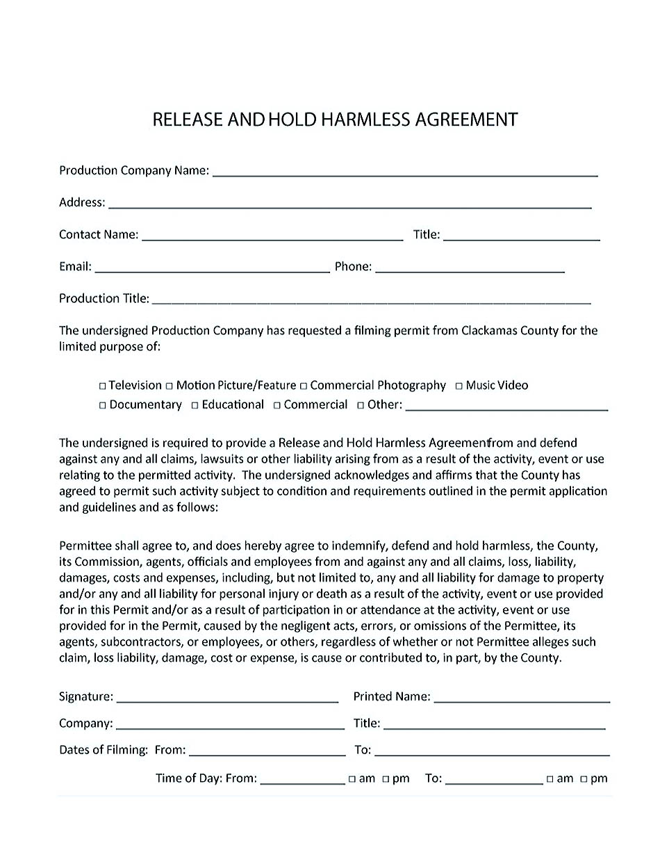 hold harmless agreement construction