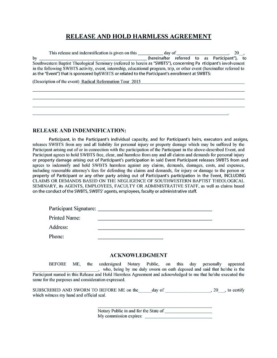 hold harmless agreement pdf