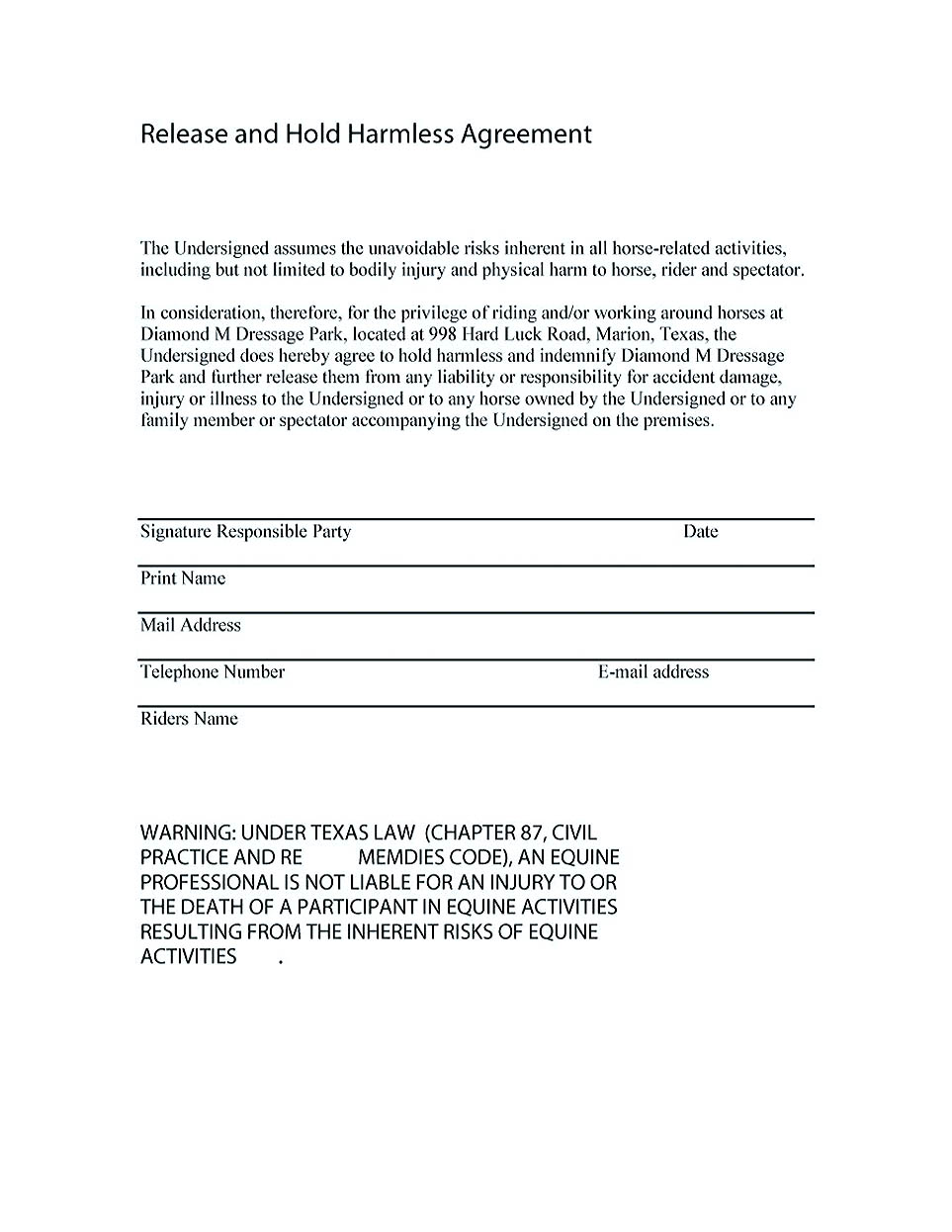 hold harmless agreement sample wording