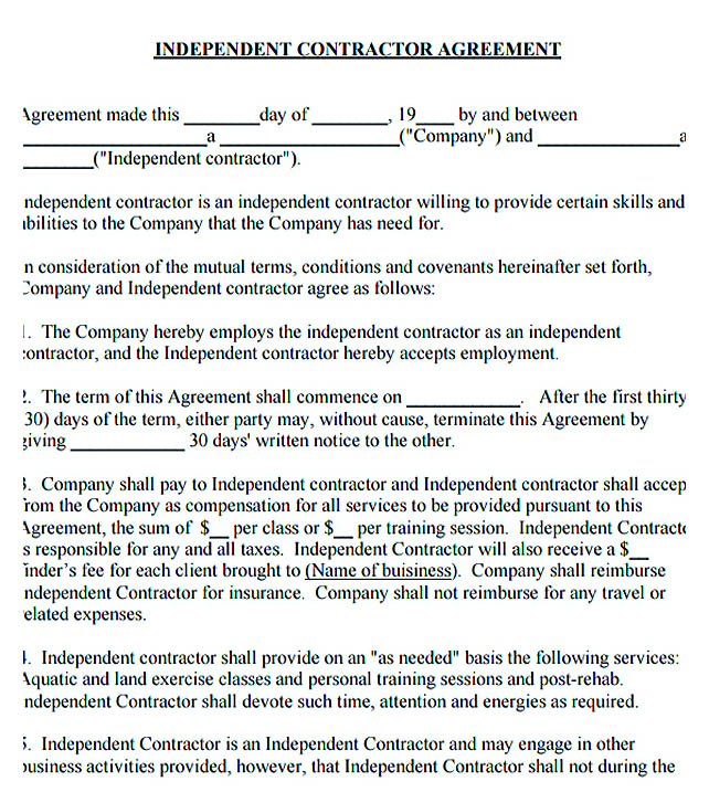 Sample Independent Contractor Agreement Independent Contractor