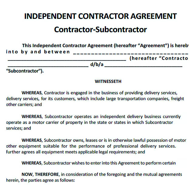 Contractor Agreement Independent Contractor Agreement Full Time
