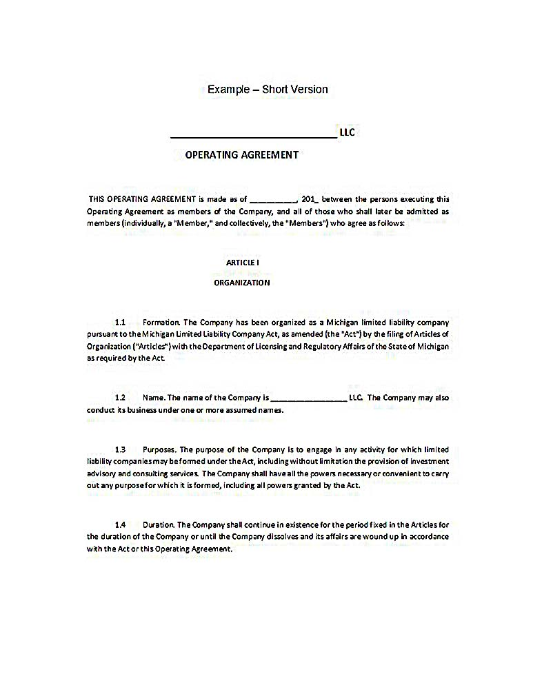 23 llc operating agreement template for Florida llc operating agreement sample