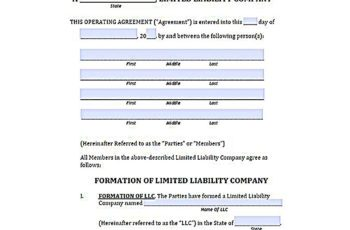 llc operating agreement pdf