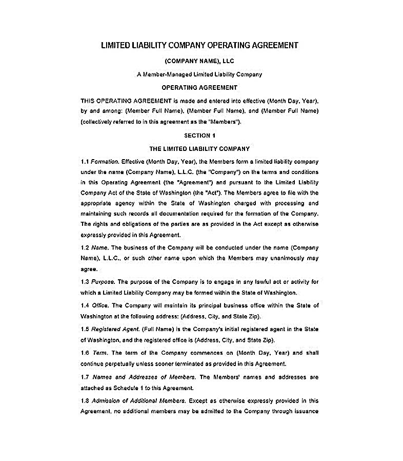 Llc Operating Agreement Template