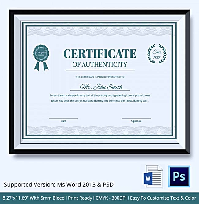 certificate of authenticity template what information to