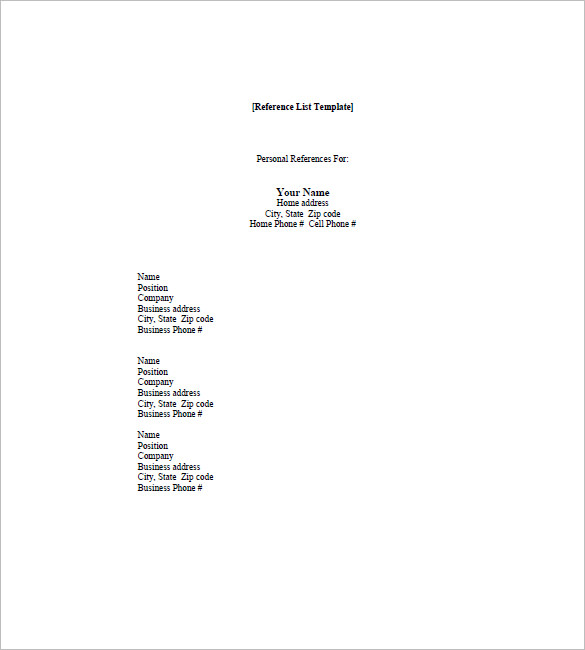 personal reference list template