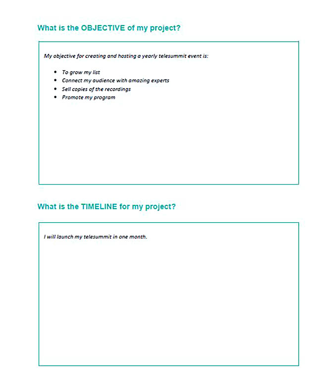 project plan activities template