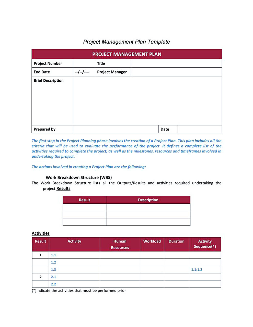 project plan template free