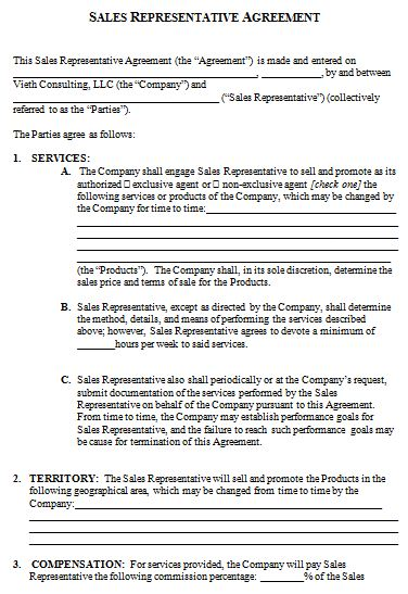 sales representative contract agreement template