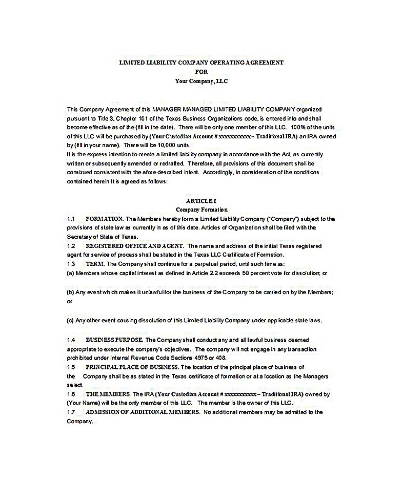 Operating Agreement Pdf