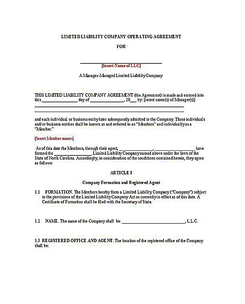 Llc Operating Agreement Manager Managed - Template