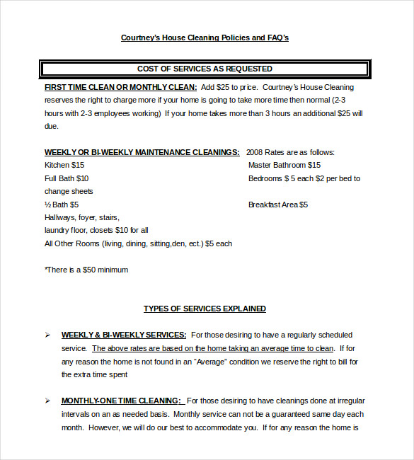 service Contract for residental cleaning
