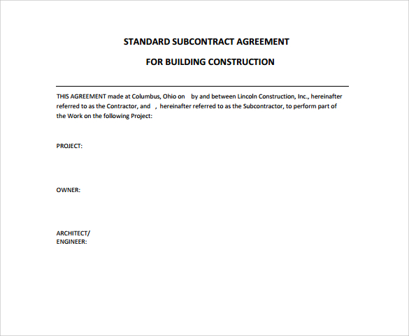 Standard Construction Contract. Standard Construction Contract. Construction  Contract Agreement  Construction Contract Template Free