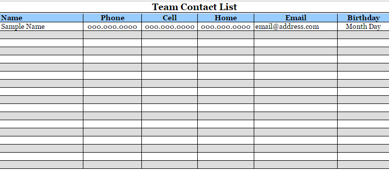 Contact List Template – Several Options of Categorization to Know