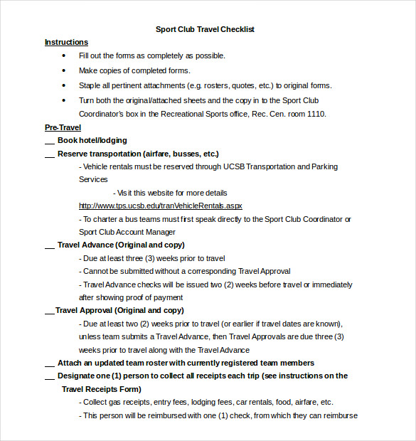 Travel Checklist Template