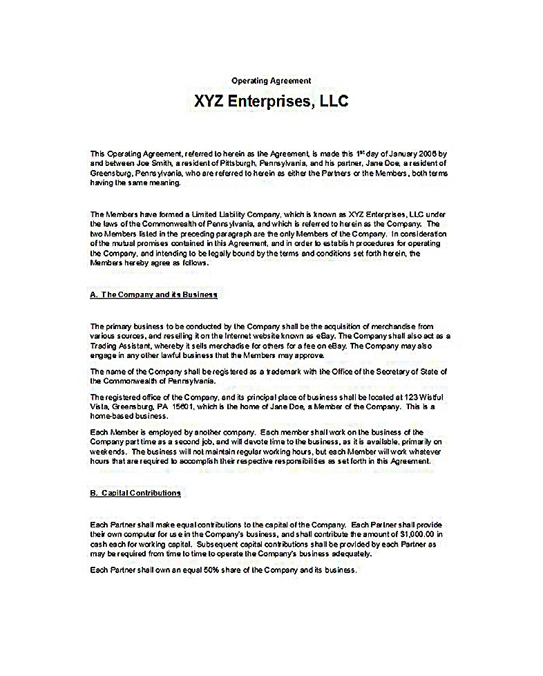 23  llc operating agreement template
