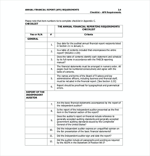 Annula Financila Budget Requirements Template