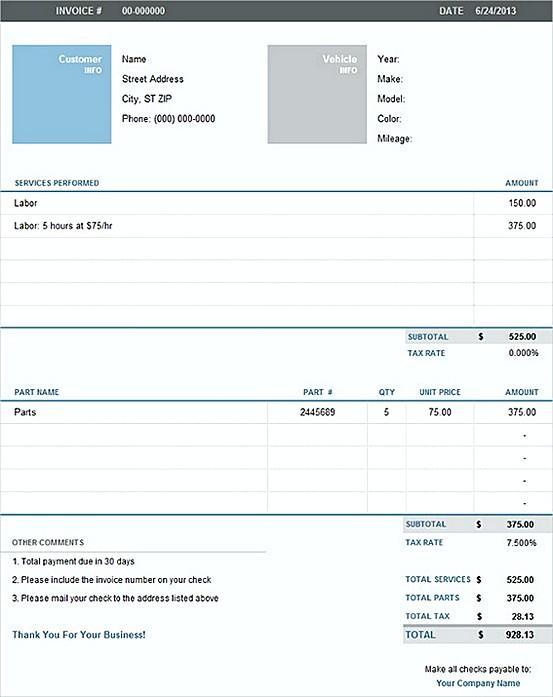 Auto Repair Excel Invoice templatess