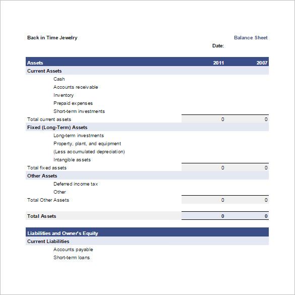 Balance Spreadsheet Template