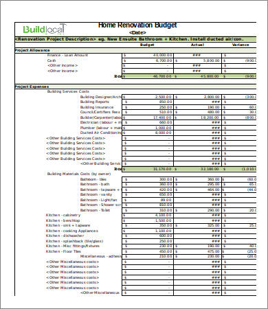 4 renovation budget template for Home construction budget template