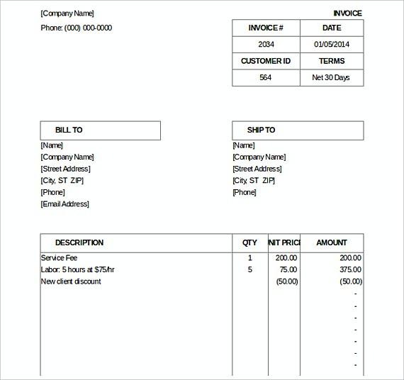 Billing Invoice templates