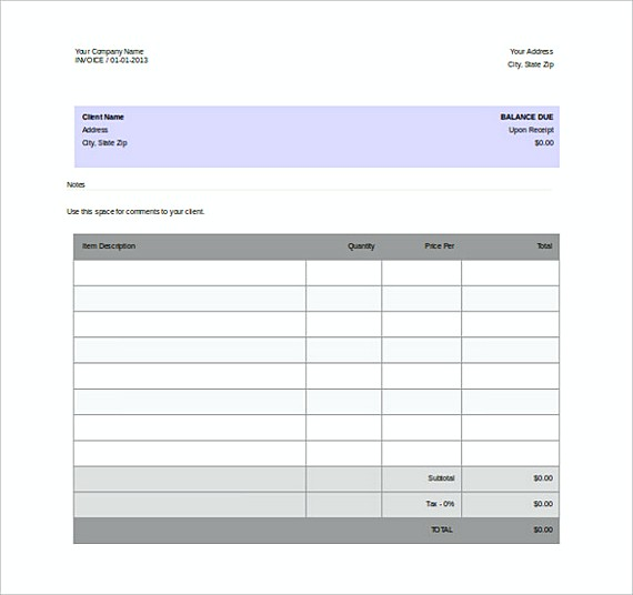 Blank Invoice Free Word Format templates