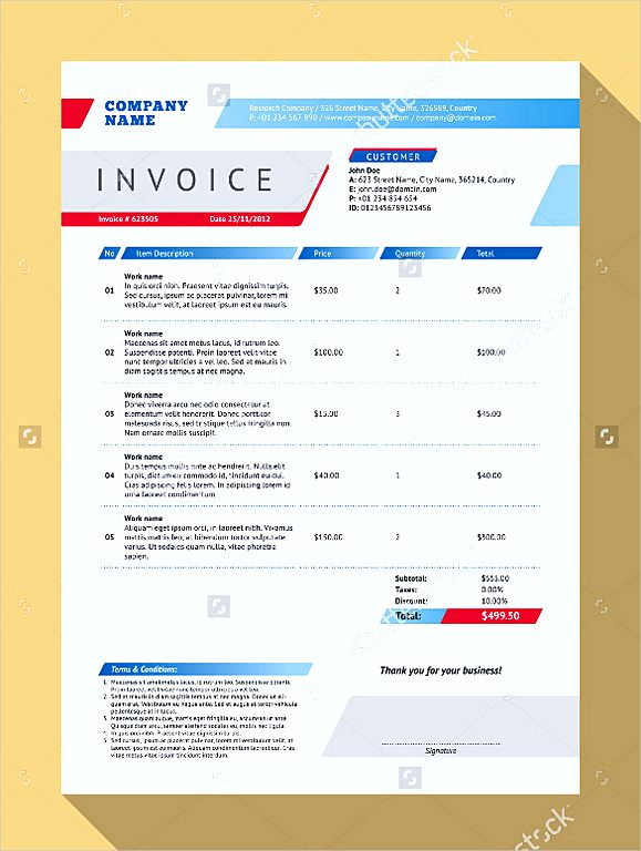 Blank Vector Customizable Invoice Form