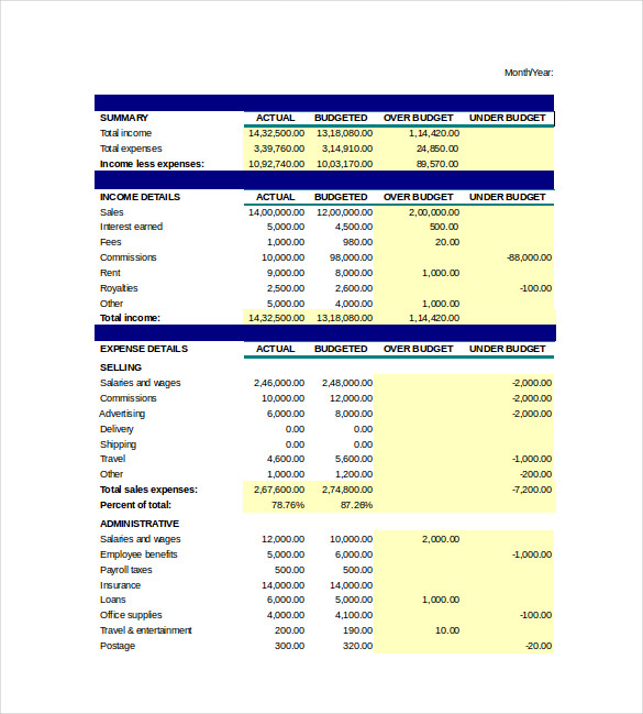 corporate budget template excel - budget spreadsheet template