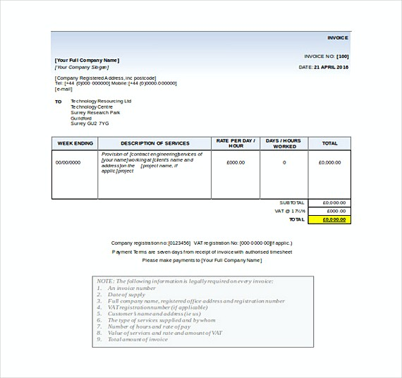 Business Invoice templates Free Word Format
