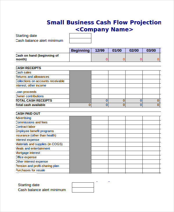 quarterly cash flow projection template excel cash budget template