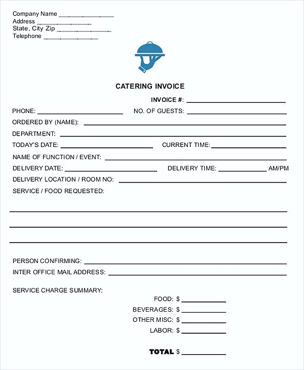 Catering Invoice in PDF