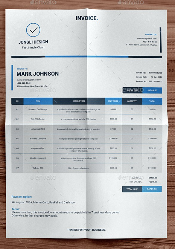 Clean Indesign Invoice templates