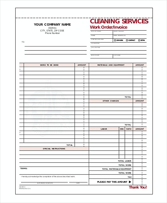 cleaning service invoice. Black Bedroom Furniture Sets. Home Design Ideas