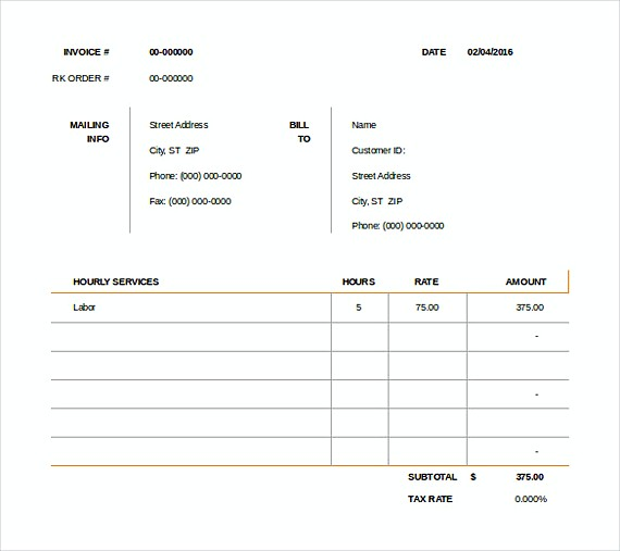 Downloadable invoice template for Consul templates